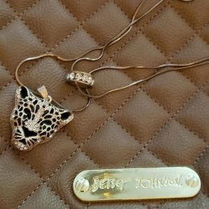 Cheetah and bling ring necklace by BETSEY JOHNSON